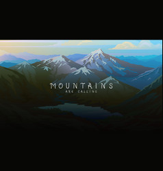 Layered mountains banner dark blue landscape and vector