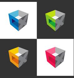 Letter cx logo template cube 3d box logo set vector