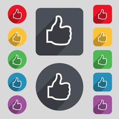 Like icon sign A set of 12 colored buttons and a vector image