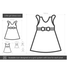 Little girl dress line icon vector