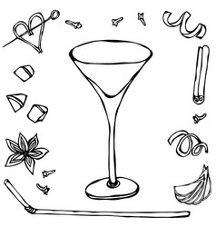 margarita coctail glass hand drawn vector image
