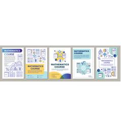 Mathematics course math lessons brochure template vector