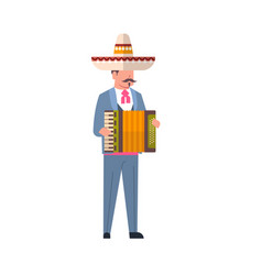 mexican man musician in traditional clothes and vector image