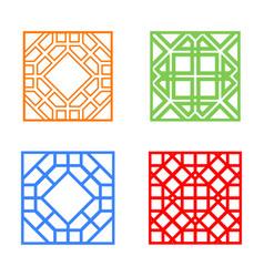 Modern korean window and tile in square design vector