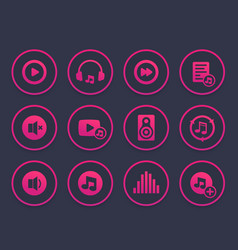music audio player icons set vector image