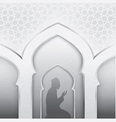 muslim silhouettes praying vector image