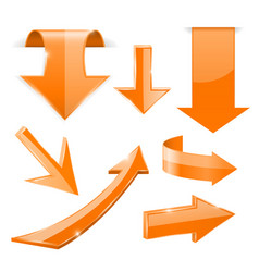 orange 3d arrows shiny icons vector image