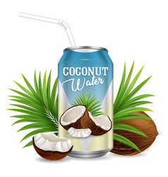 organic refreshing coconut water realistic vector image