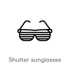 outline shutter sunglasses icon isolated black vector image