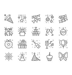 party line icon set vector image