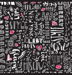 Pattern words and letters and women s vector