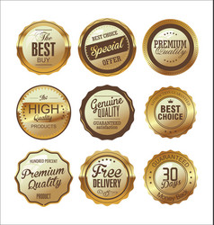 quality golden retro badges collection 04 vector image