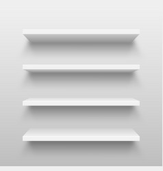 Realistic white wall shelf collection on abstract vector