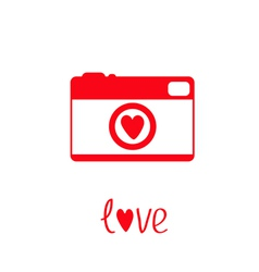 Red and white photo camera with heart Love card vector