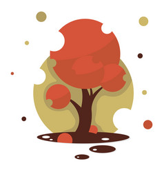 Red maple tree isolated tree on white vector