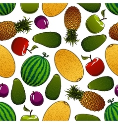 Ripe juicy fruits seamless pattern vector