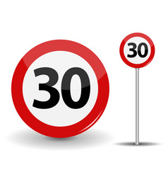 Round red road sign speed limit 30 kilometers per vector