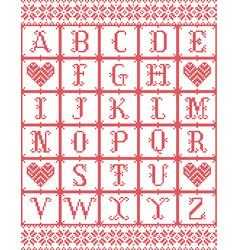 scandinavian style alphabet in cross stitch vector image
