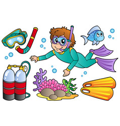 scuba diving collection vector image