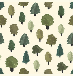 Seamless detailed summer forest tree pattern vector