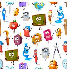 seamless pattern of cartoon school characters vector image