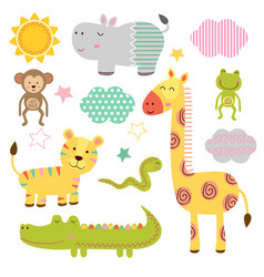 set isolated bajungle animals part 2 vector image