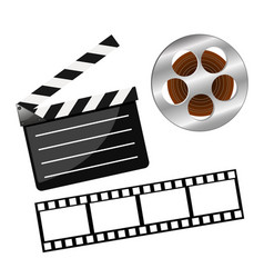 Set of cinema consisting of clapperboard and film vector