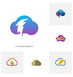 set of storm cloud logo design concept thunder vector image
