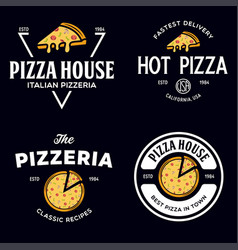 set pizza logo badges banners emblems for vector image