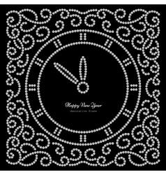 Snew year clock on black vector