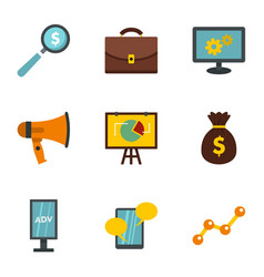 social media marketing icons set flat style vector image