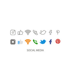 social media set media icon social icon in flat vector image