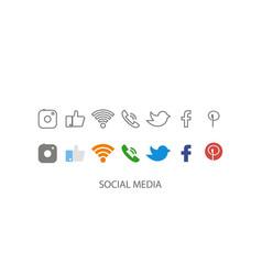 social media set media icon social icon in flat vector image
