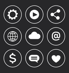 social network dollar icons vector image
