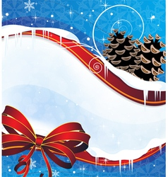 Sparkling Christmas background with pine cones and vector