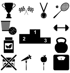 Sport and healty signs set vector