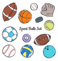 sport ball doodle set vector image
