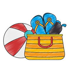 Summer vacations bag with sandals and balloon vector