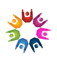 Teamwork hands up logo vector image