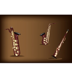 Three Retro Saxophone on Dark Brown Background vector