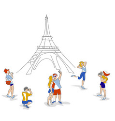 travelers in paris vector image