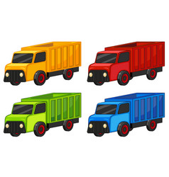 Trucks in four colors vector