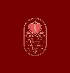 valentines day abstract curly heart label vector image