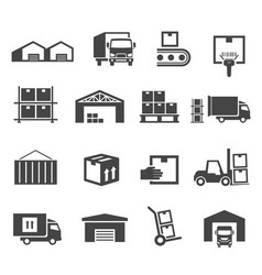 warehouse and storage industry icon business set vector image