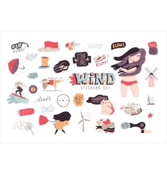 Windy girl sticker pack 1 vector image