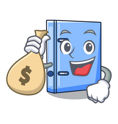 with money bag office binder with on metal cartoon vector image