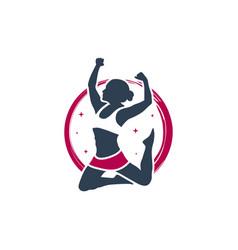 Woman dancing sport logo vector