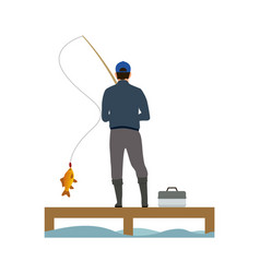 Wooden placing and fisher catching a fish banner vector