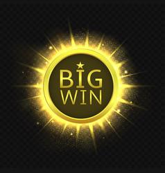 big win golden label vector image