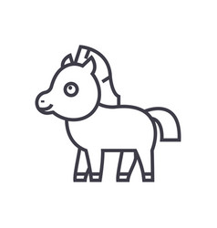 cute foal horse line icon sign vector image